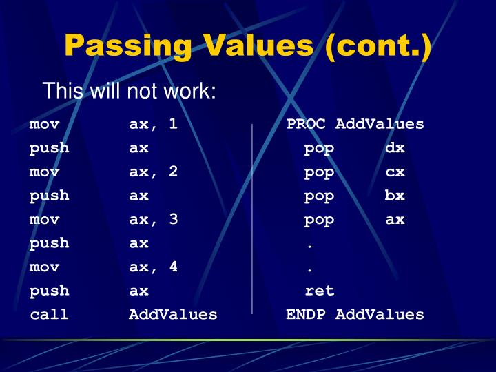 Passing Values (cont.)