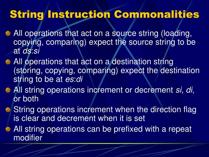 String Instruction Commonalities