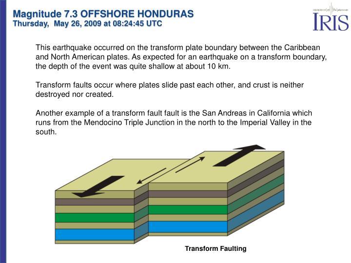 Magnitude 7.3 OFFSHORE HONDURAS