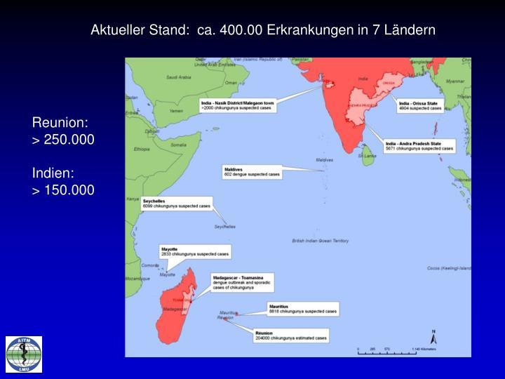 Aktueller Stand:  ca. 400.00 Erkrankungen in 7 Ländern