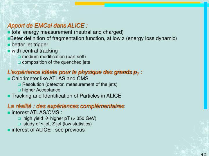 Apport de EMCal dans ALICE :