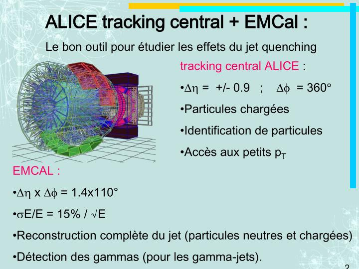 ALICE tracking central + EMCal :