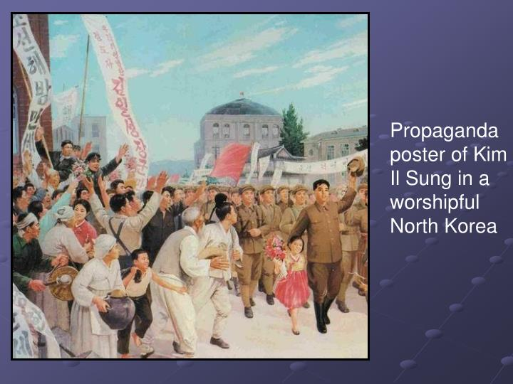 Propaganda poster of Kim Il Sung in a worshipful North Korea