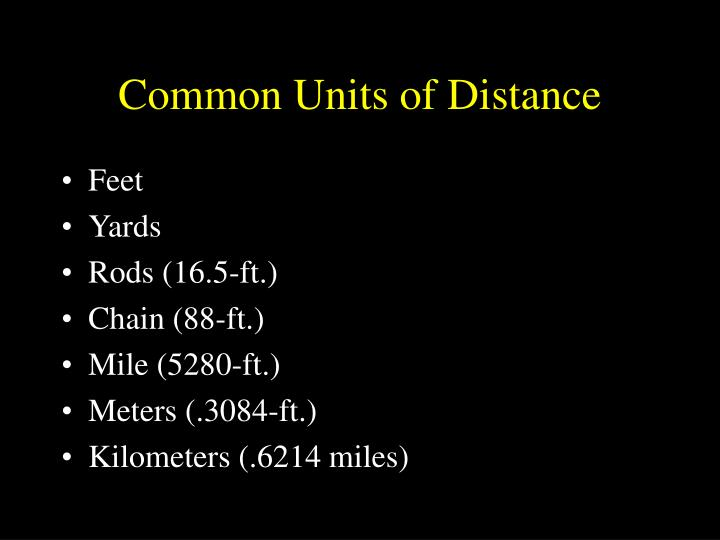 Common Units of Distance