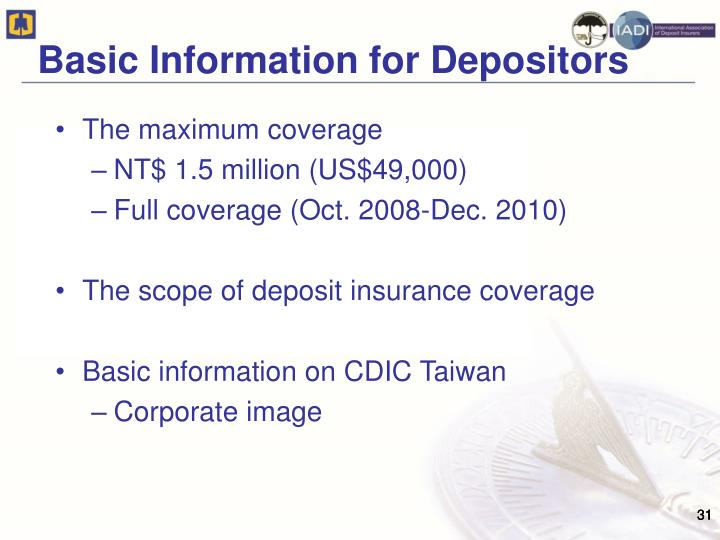 Basic Information for Depositors
