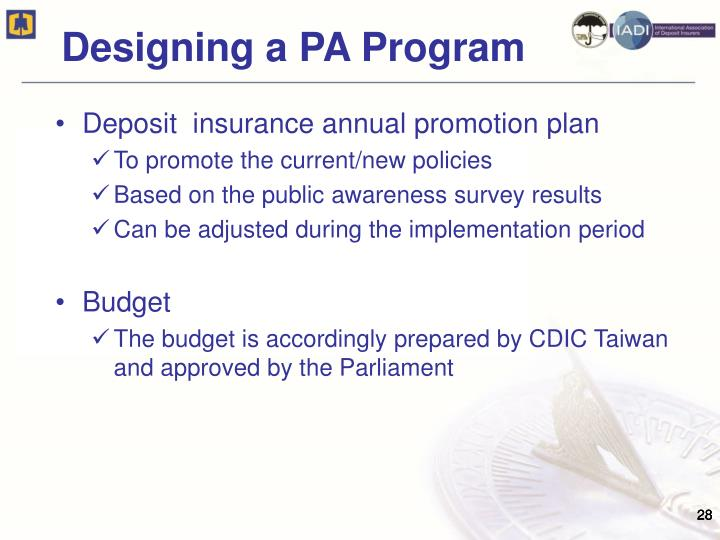 Deposit  insurance annual promotion plan