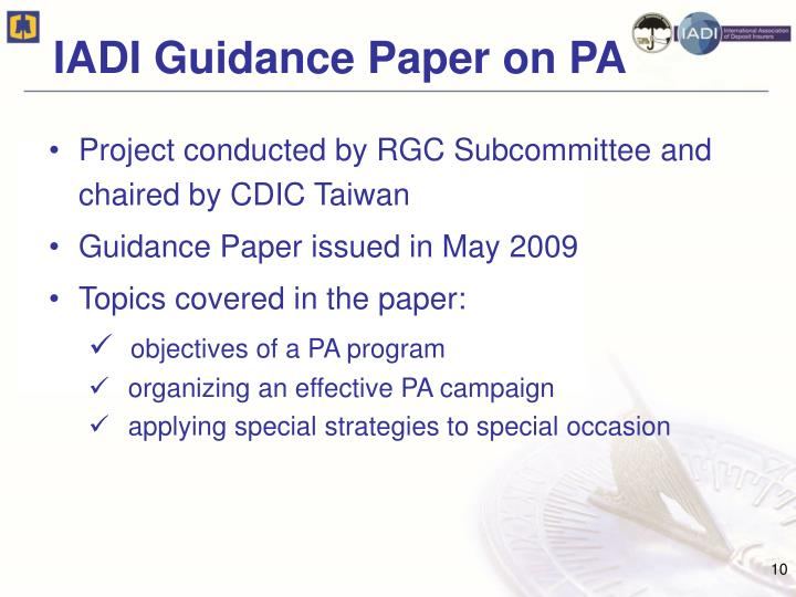 IADI Guidance Paper on PA