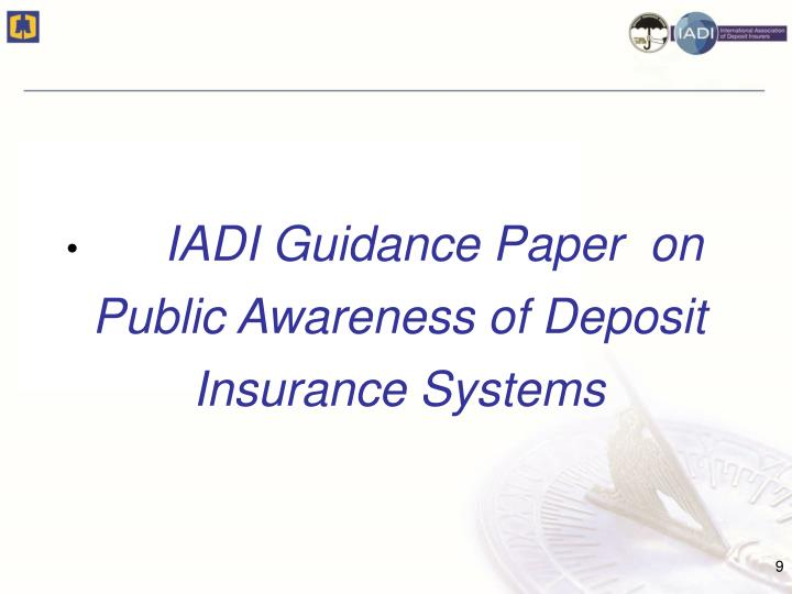 IADI Guidance Paper  on Public Awareness of Deposit   Insurance Systems