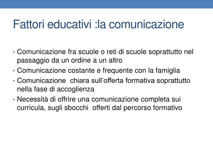 Fattori educativi :la comunicazione