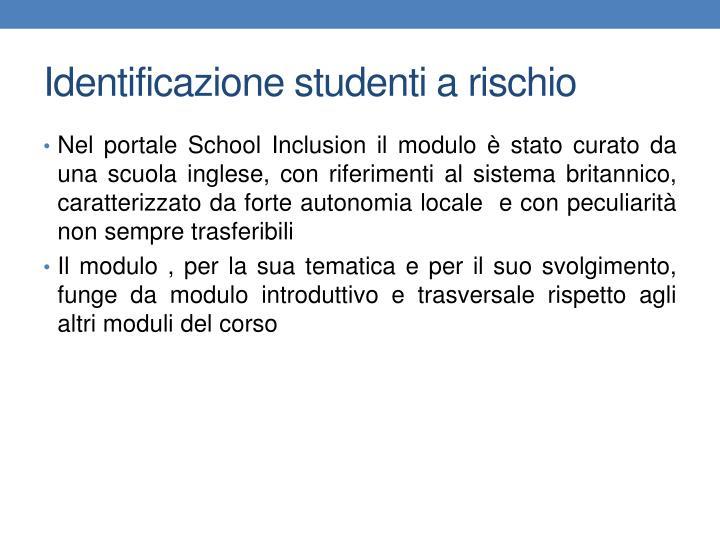Identificazione studenti a rischio