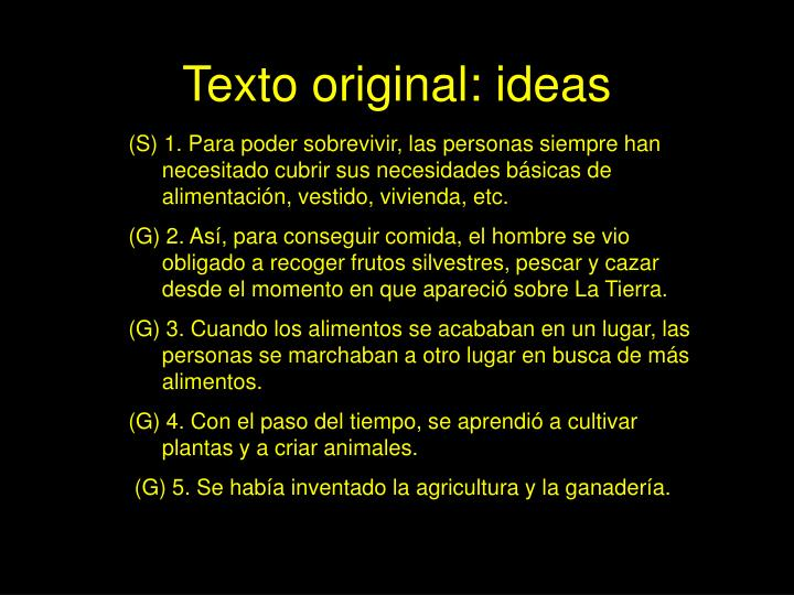 Texto original ideas