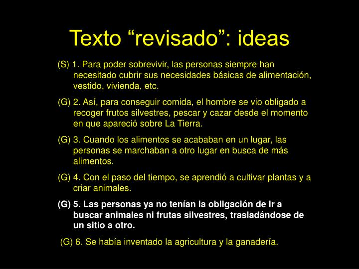 "Texto ""revisado"": ideas"