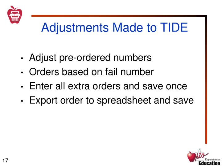Adjustments Made to TIDE