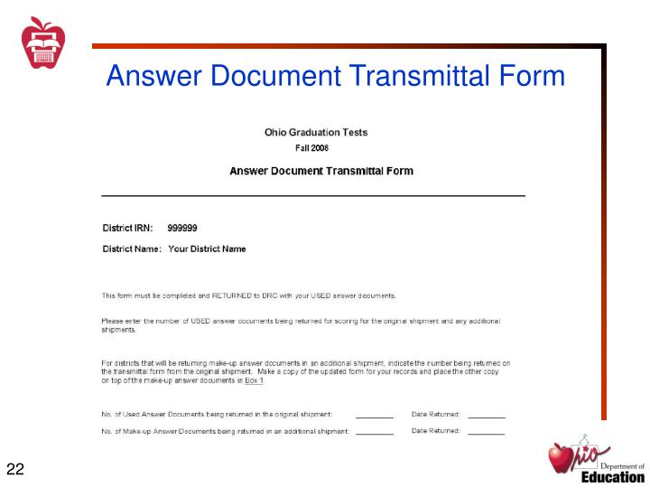 Answer Document Transmittal Form