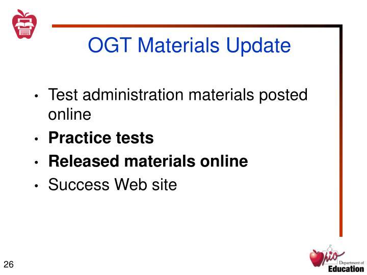 OGT Materials Update