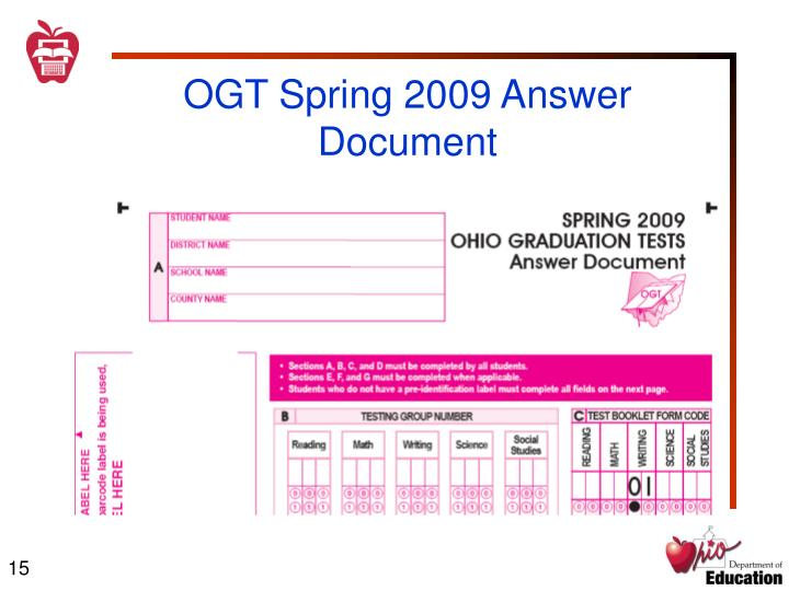 OGT Spring 2009 Answer Document