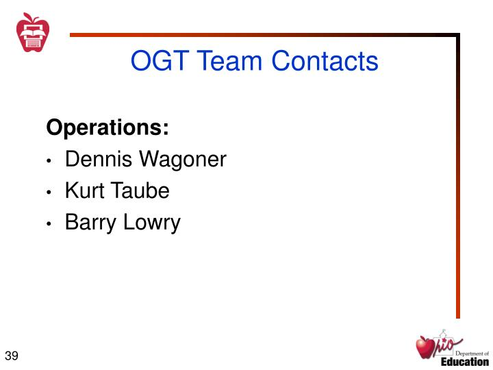 OGT Team Contacts