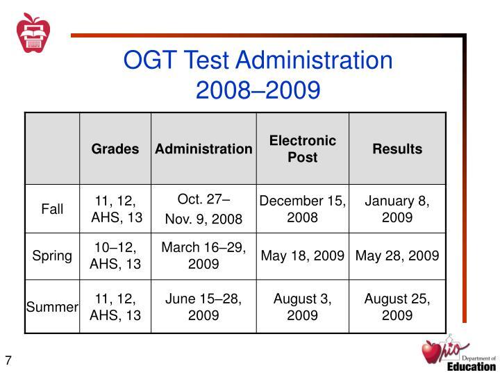 OGT Test Administration