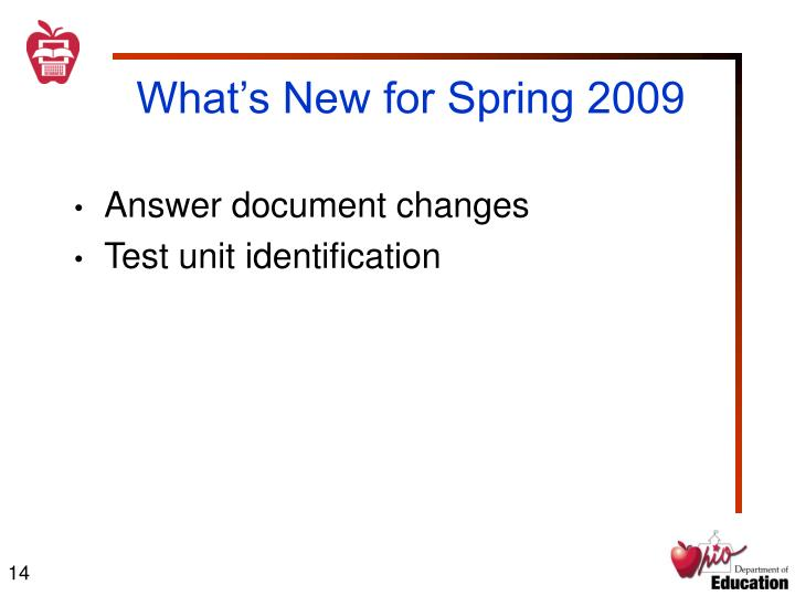 What's New for Spring 2009