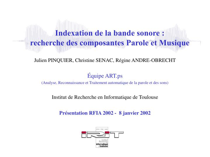 Indexation de la bande sonore :