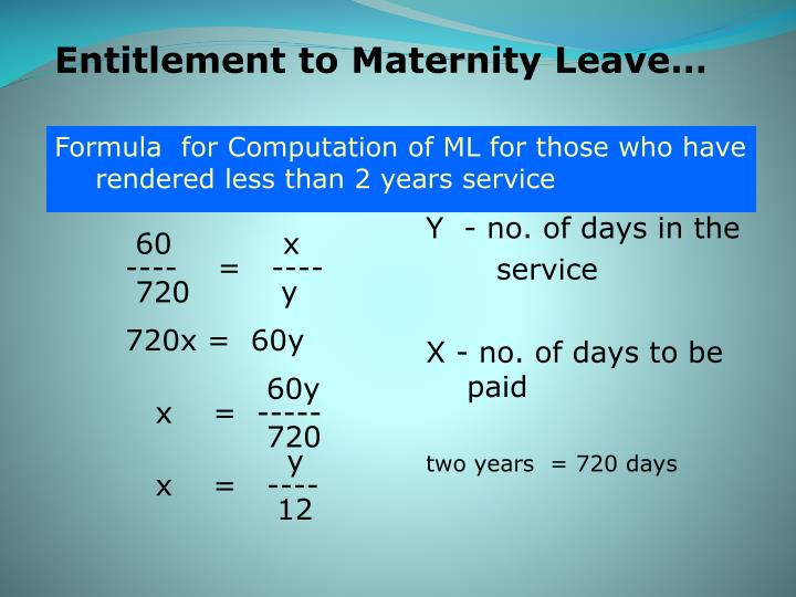 Entitlement to Maternity Leave…