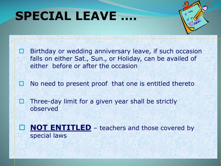 SPECIAL LEAVE ….