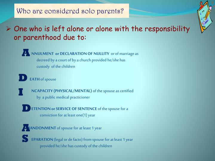 Who are considered solo parents?
