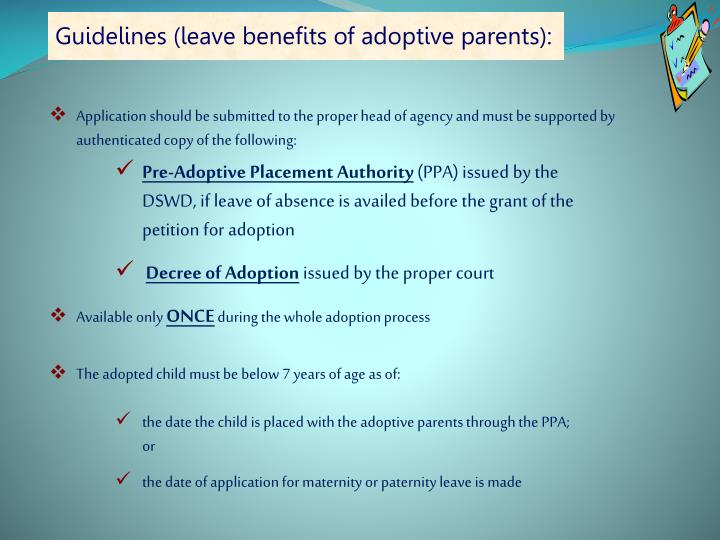 Guidelines (leave benefits of adoptive parents):
