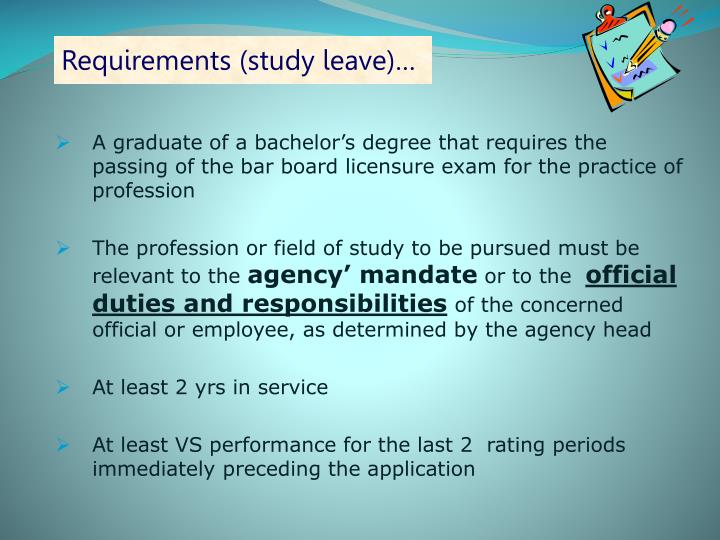 Requirements (study leave)…