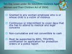ten day leave under ra 9262 anti violence against women and their children act of 2004