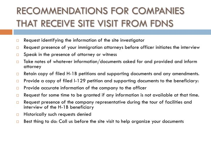 RECOMMENDATIONS FOR COMPANIES THAT RECEIVE SITE VISIT FROM FDNS