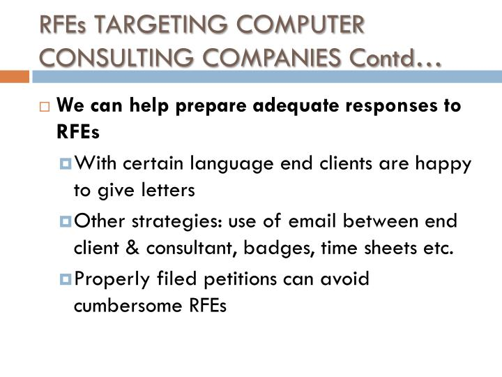 RFEs TARGETING COMPUTER CONSULTING COMPANIES