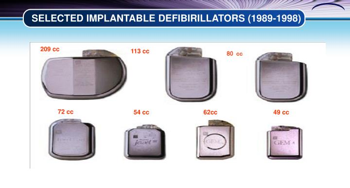 SELECTED IMPLANTABLE DEFIBIRILLATORS (1989-1998)