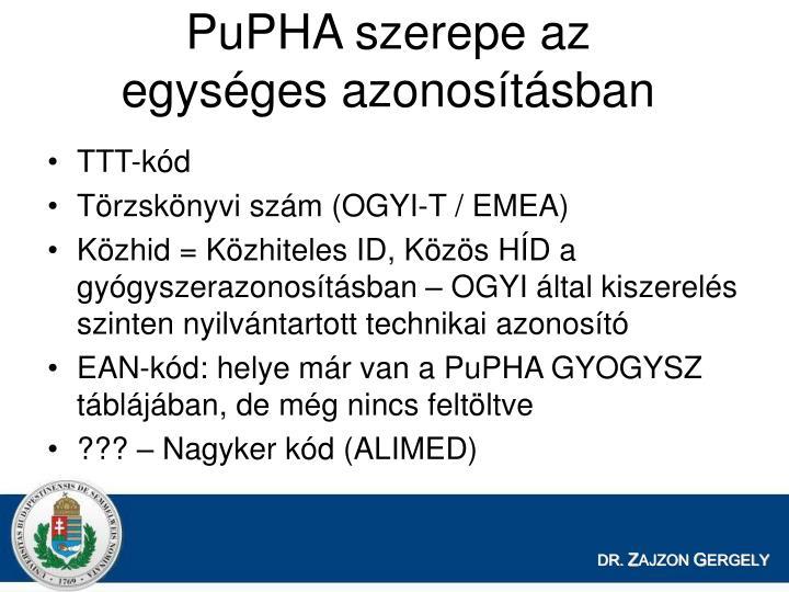 PuPHA szerepe az egysges azonostsban