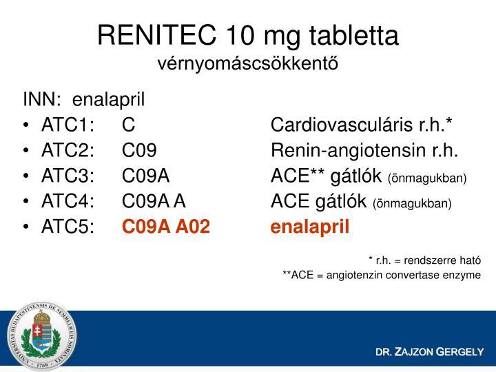 RENITEC 10 mg tabletta