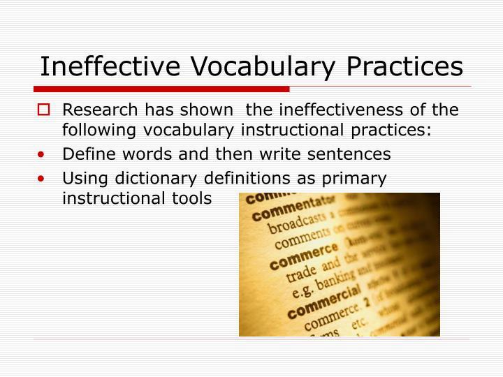Ineffective Vocabulary Practices