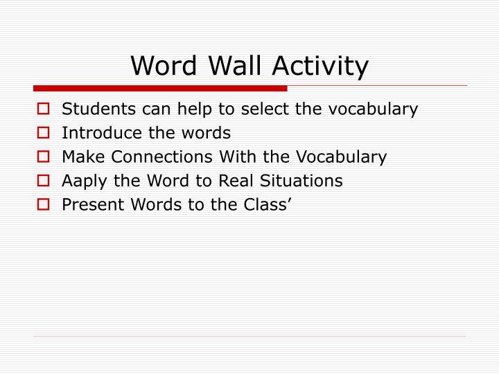 Word Wall Activity
