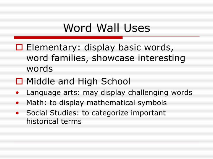 Word wall uses