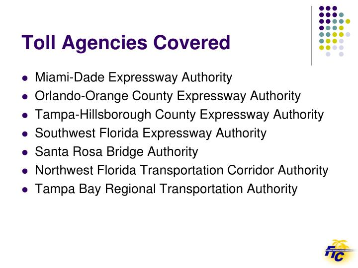 Toll Agencies Covered