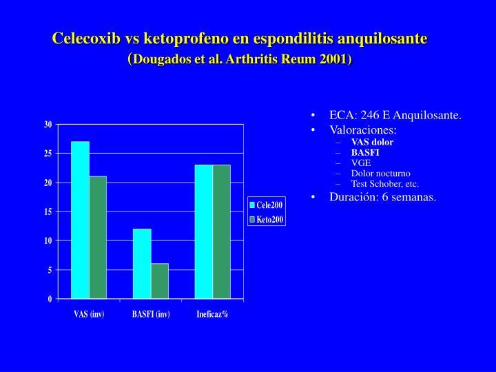 Celecoxib vs ketoprofeno en espondilitis anquilosante (