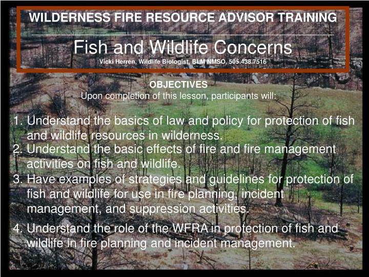 WILDERNESS FIRE RESOURCE ADVISOR TRAINING
