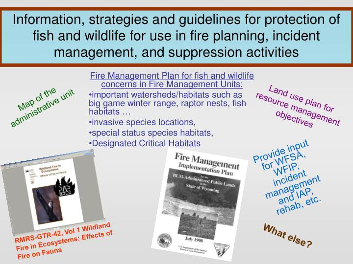 Information, strategies and guidelines for protection of fish and wildlife for use in fire planning, incident management, and suppression activities