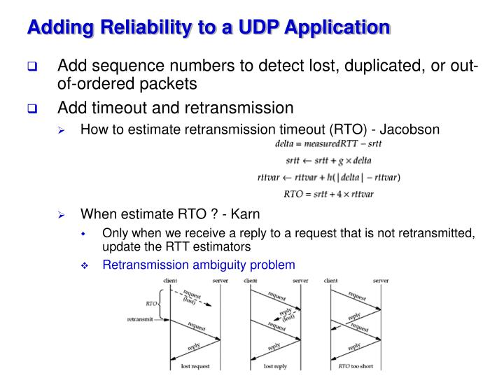 Adding Reliability to a UDP Application