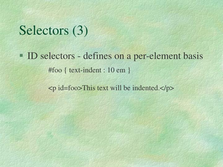 Selectors (3)