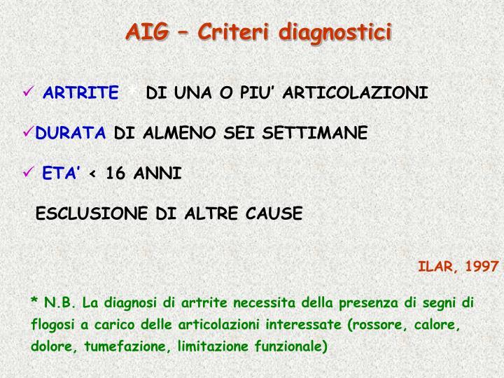 AIG – Criteri diagnostici