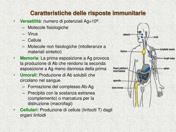 Caratteristiche delle risposte immunitarie