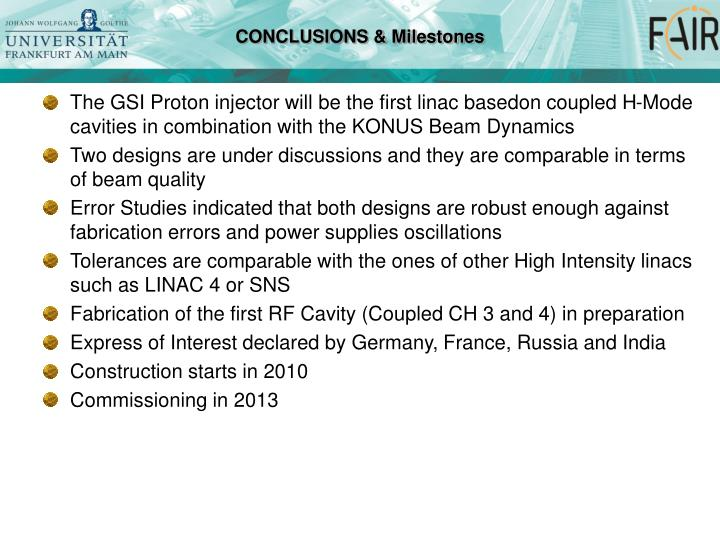 The GSI Proton injector will be the first linac basedon coupled H-Mode cavities in combination with the KONUS Beam Dynamics