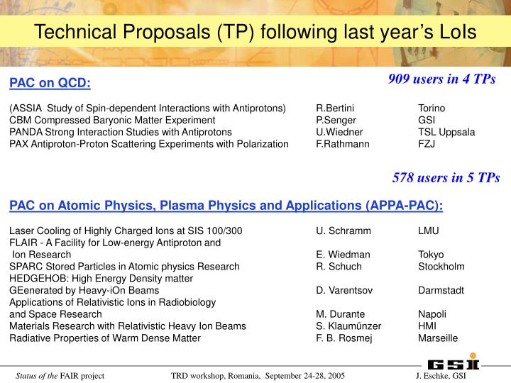 Technical Proposals (TP) following last year's LoIs