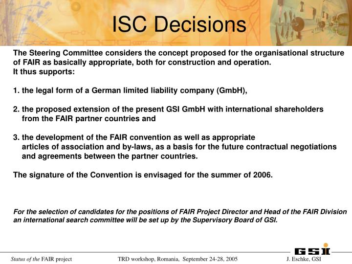 ISC Decisions