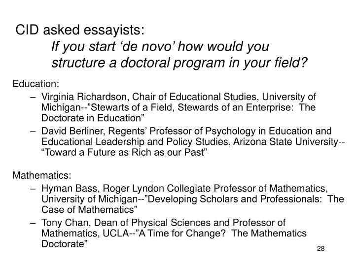 CID asked essayists: